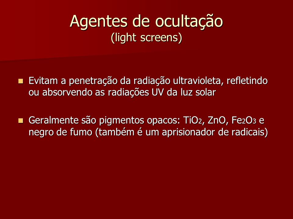 Agentes de ocultação (light screens)