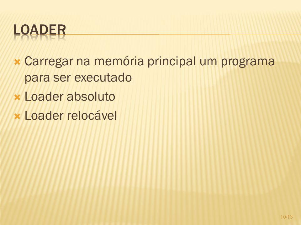 Loader Carregar na memória principal um programa para ser executado