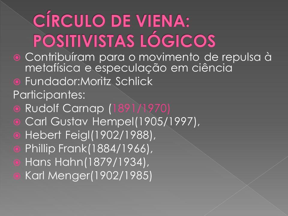 CÍRCULO DE VIENA: POSITIVISTAS LÓGICOS