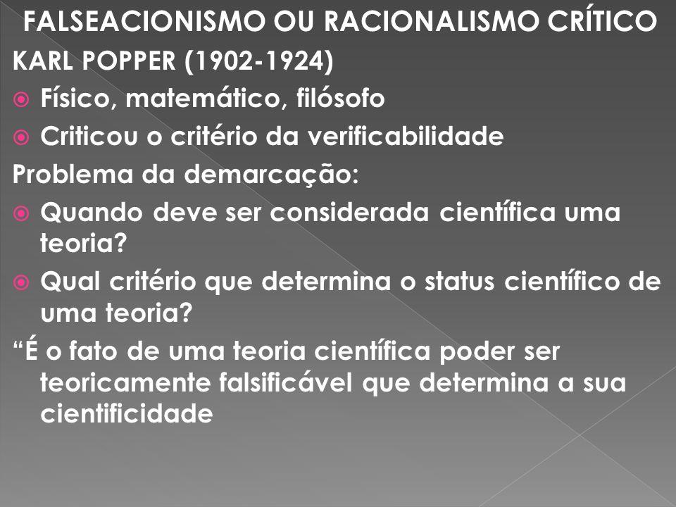 FALSEACIONISMO OU RACIONALISMO CRÍTICO