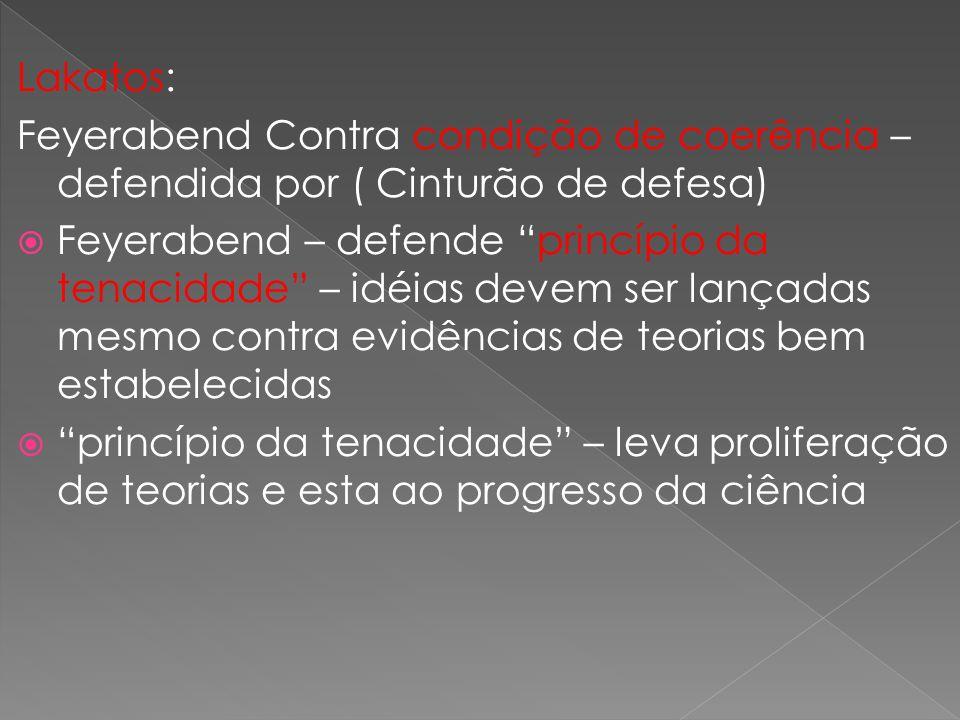 Lakatos: Feyerabend Contra condição de coerência – defendida por ( Cinturão de defesa)