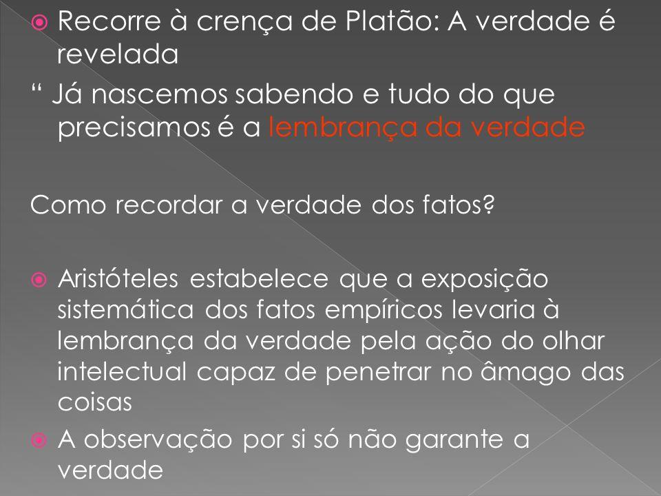 Recorre à crença de Platão: A verdade é revelada