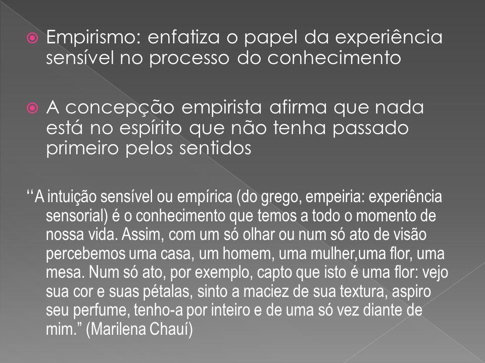 Empirismo: enfatiza o papel da experiência sensível no processo do conhecimento