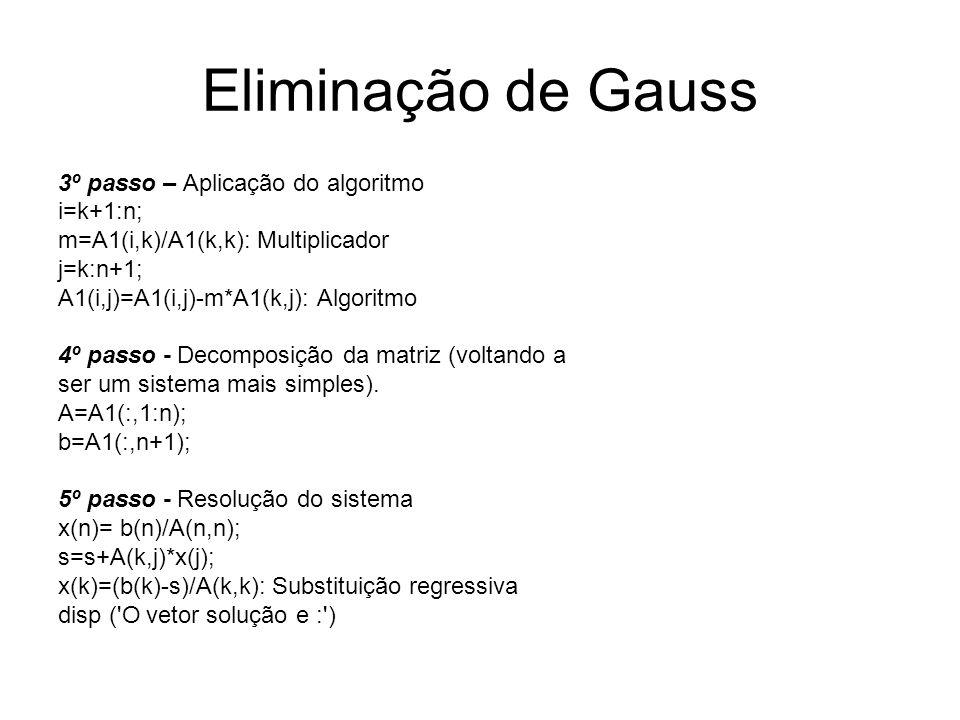 Eliminação de Gauss 3º passo – Aplicação do algoritmo i=k+1:n;