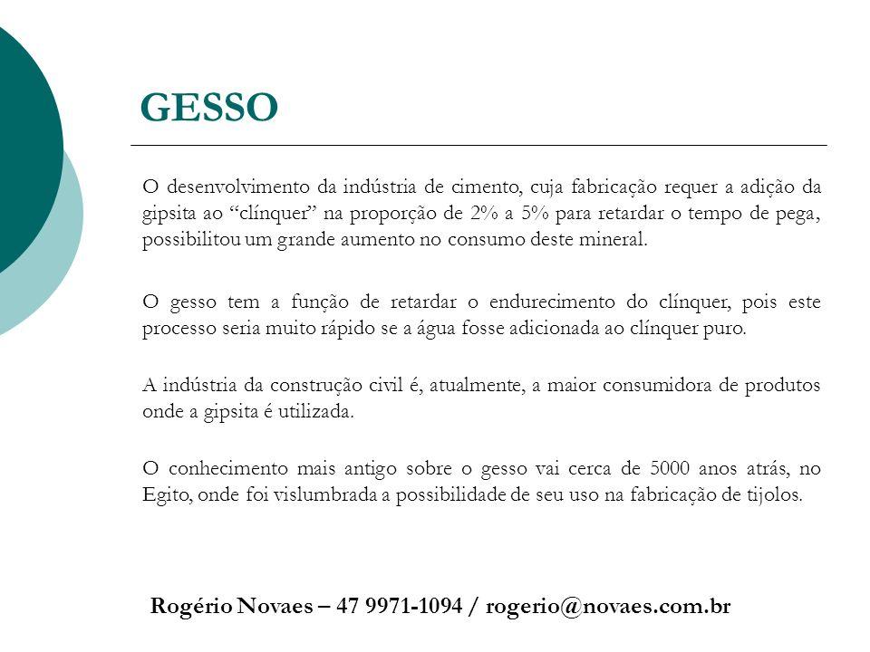 GESSO Rogério Novaes – 47 9971-1094 / rogerio@novaes.com.br