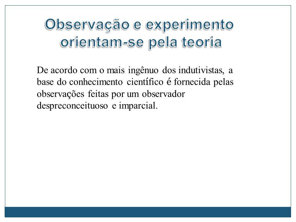 Observação e experimento orientam-se pela teoria