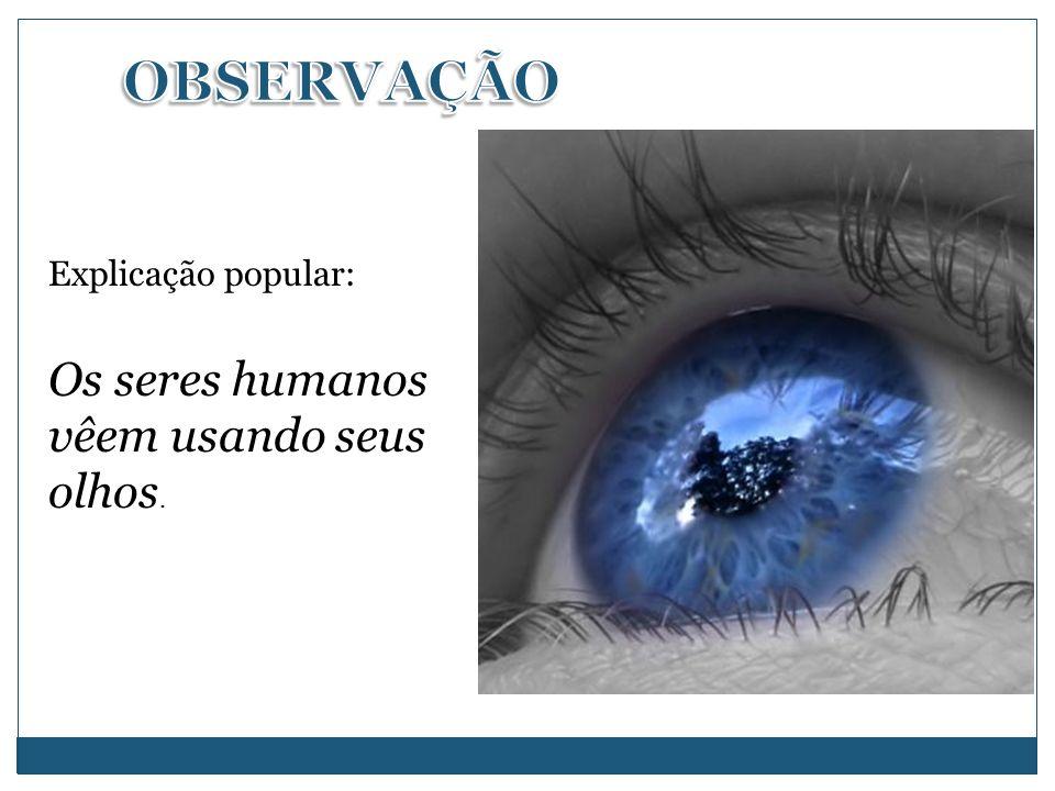 OBSERVAÇÃO Os seres humanos vêem usando seus olhos.