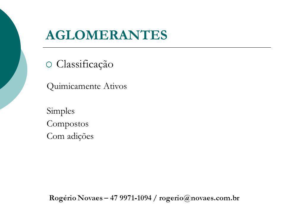 AGLOMERANTES Classificação Quimicamente Ativos Simples Compostos