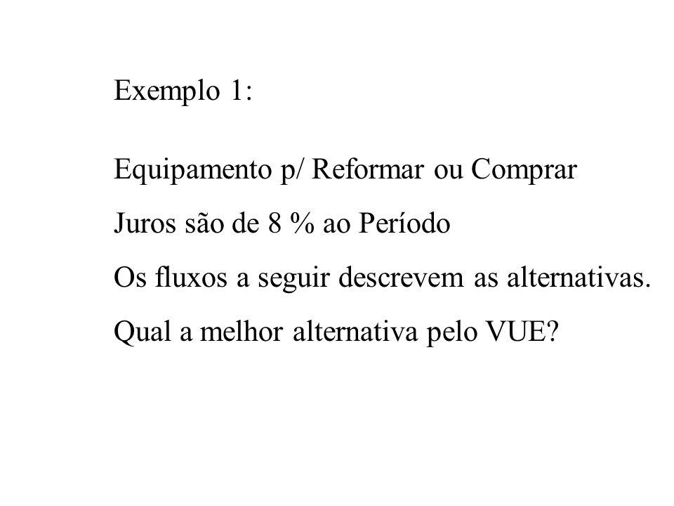 Exemplo 1:Equipamento p/ Reformar ou Comprar. Juros são de 8 % ao Período. Os fluxos a seguir descrevem as alternativas.