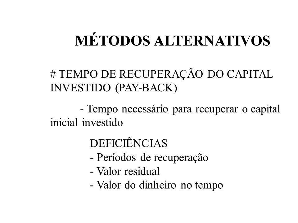 MÉTODOS ALTERNATIVOS# TEMPO DE RECUPERAÇÃO DO CAPITAL INVESTIDO (PAY-BACK) - Tempo necessário para recuperar o capital inicial investido.