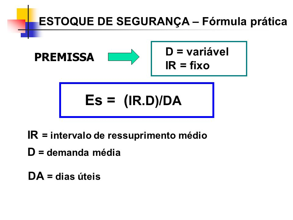 Es = (IR.D)/DA ESTOQUE DE SEGURANÇA – Fórmula prática D = variável