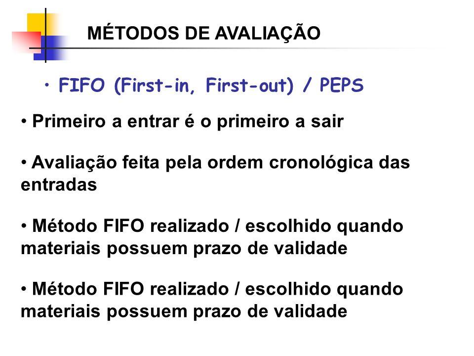 MÉTODOS DE AVALIAÇÃO FIFO (First-in, First-out) / PEPS. Primeiro a entrar é o primeiro a sair. Avaliação feita pela ordem cronológica das entradas.