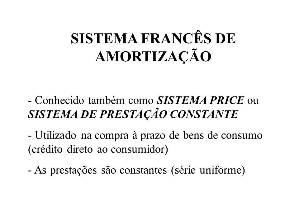 SISTEMA FRANCÊS DE AMORTIZAÇÃO