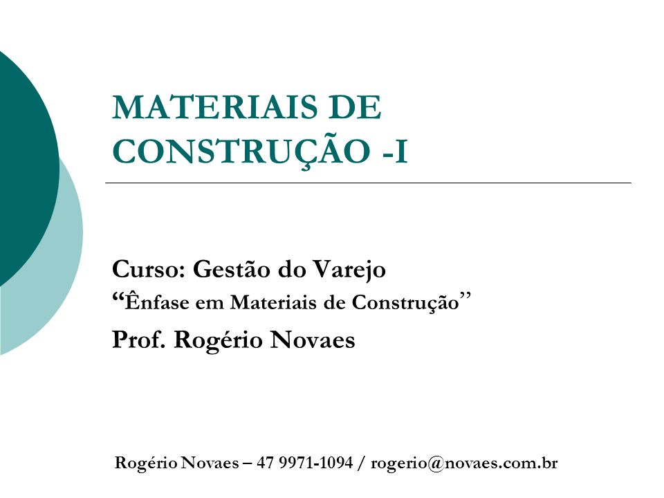 MATERIAIS DE CONSTRUÇÃO -I