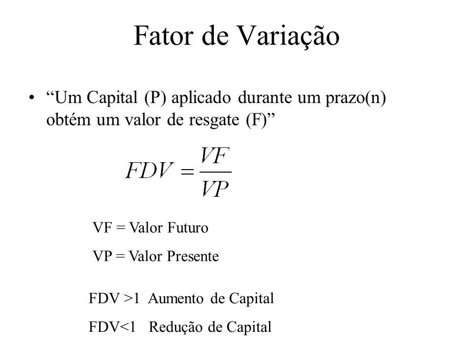 Fator de Variação Um Capital (P) aplicado durante um prazo(n) obtém um valor de resgate (F) VF = Valor Futuro.