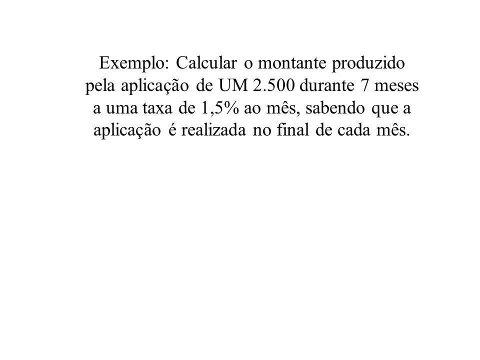 Exemplo: Calcular o montante produzido pela aplicação de UM 2