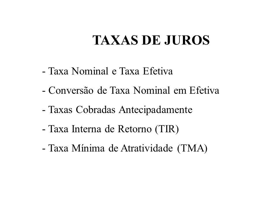 TAXAS DE JUROS - Taxa Nominal e Taxa Efetiva
