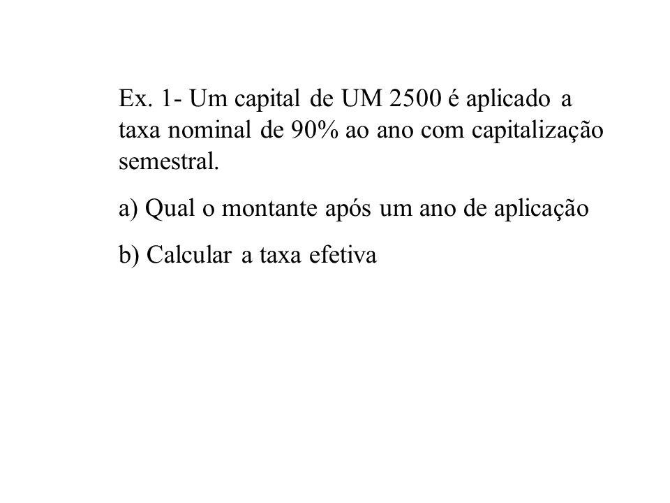 Ex. 1- Um capital de UM 2500 é aplicado a taxa nominal de 90% ao ano com capitalização semestral.