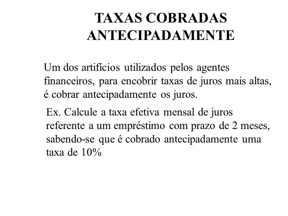 TAXAS COBRADAS ANTECIPADAMENTE