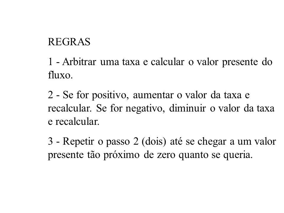 REGRAS 1 - Arbitrar uma taxa e calcular o valor presente do fluxo.