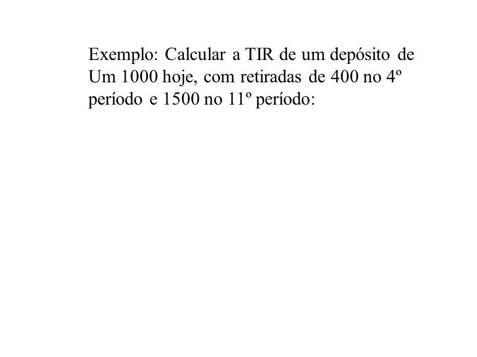 Exemplo: Calcular a TIR de um depósito de Um 1000 hoje, com retiradas de 400 no 4º período e 1500 no 11º período: