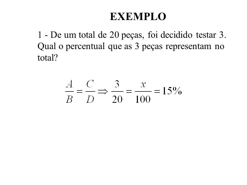 EXEMPLO 1 - De um total de 20 peças, foi decidido testar 3.
