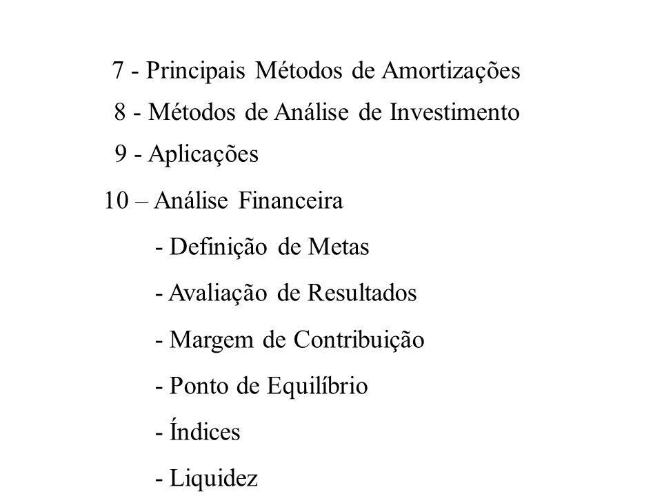 7 - Principais Métodos de Amortizações