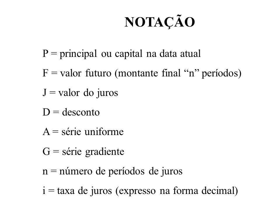 NOTAÇÃO P = principal ou capital na data atual