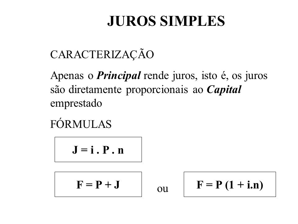 JUROS SIMPLES CARACTERIZAÇÃO