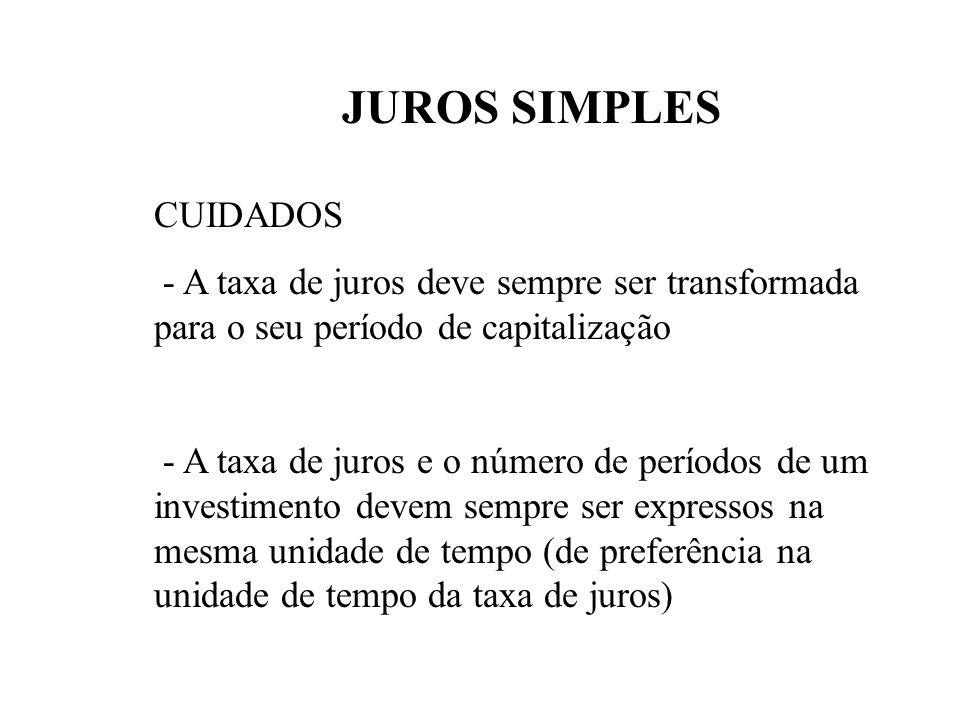 JUROS SIMPLES CUIDADOS