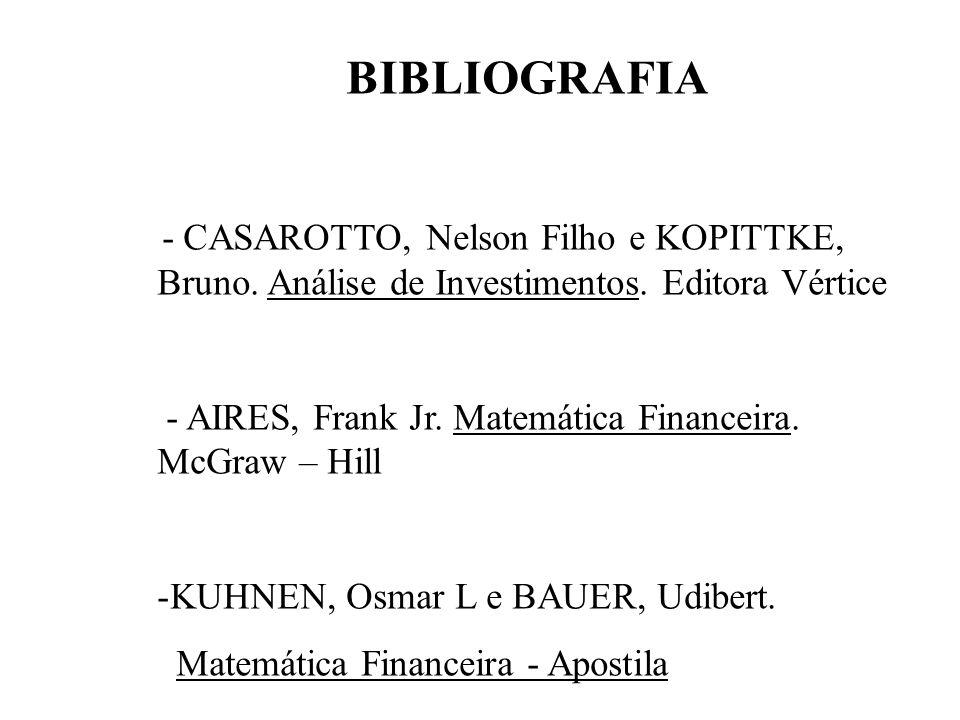 BIBLIOGRAFIA - AIRES, Frank Jr. Matemática Financeira. McGraw – Hill