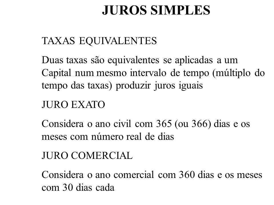 JUROS SIMPLES TAXAS EQUIVALENTES