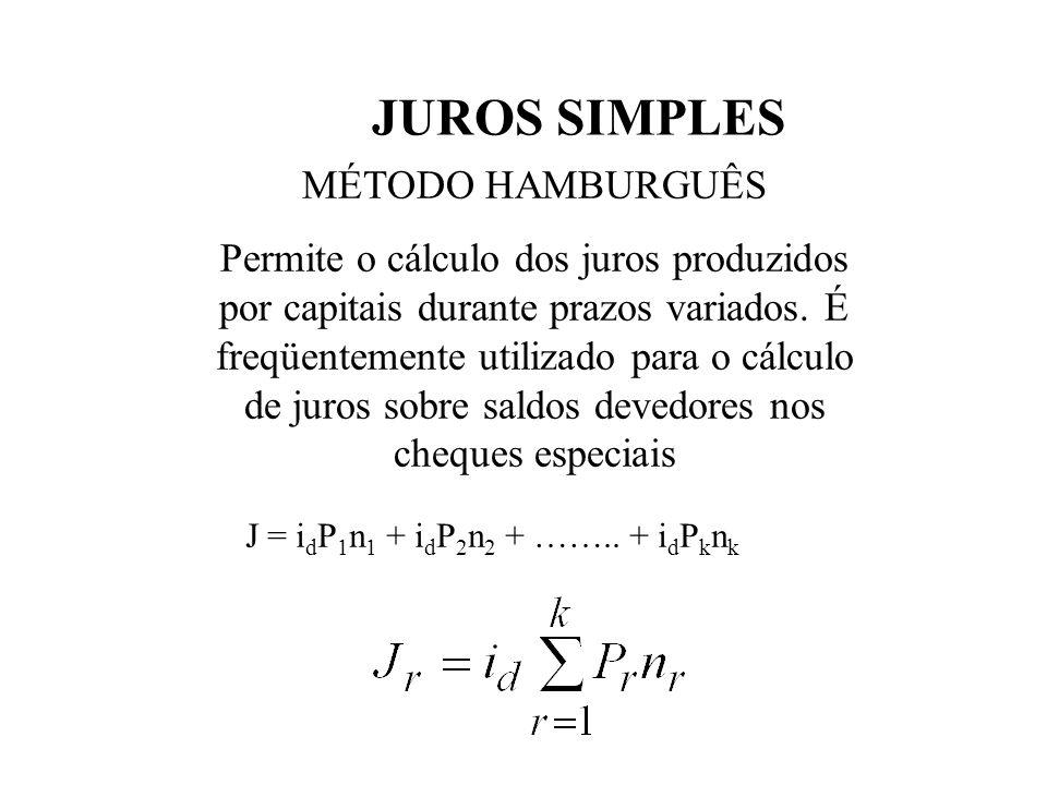 JUROS SIMPLES MÉTODO HAMBURGUÊS