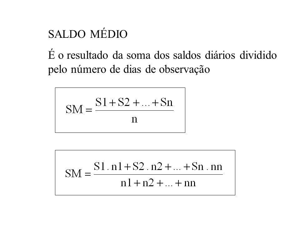 SALDO MÉDIO É o resultado da soma dos saldos diários dividido pelo número de dias de observação