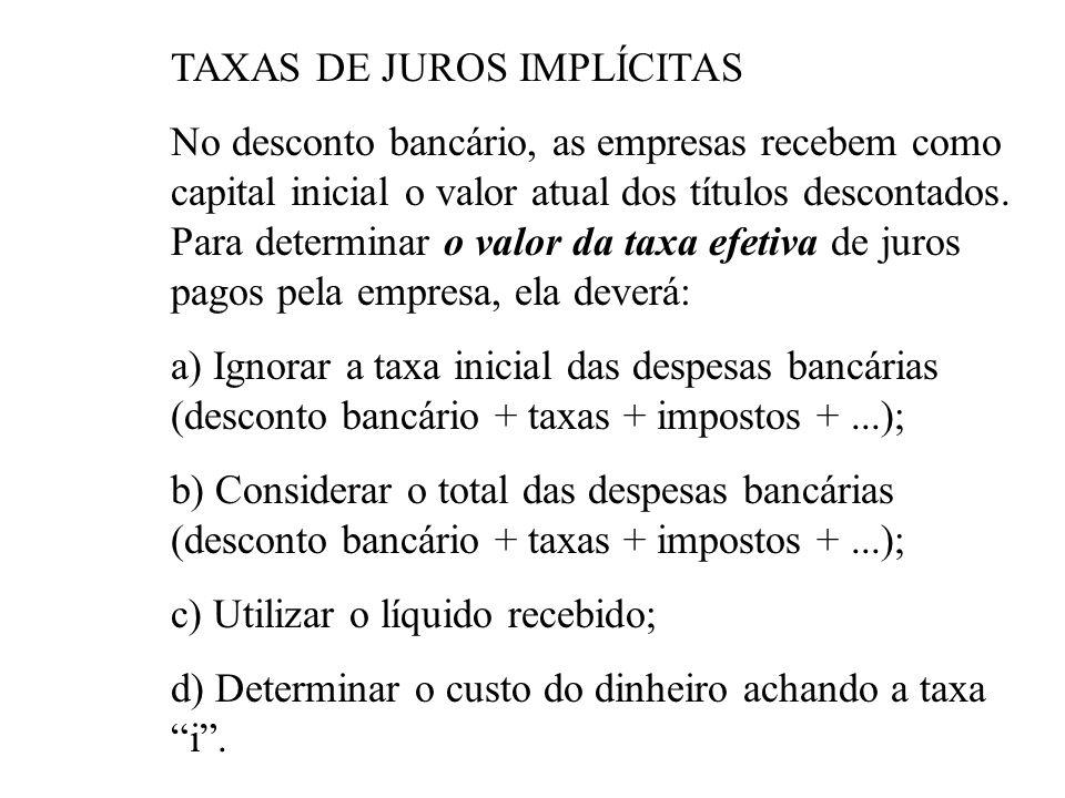 TAXAS DE JUROS IMPLÍCITAS