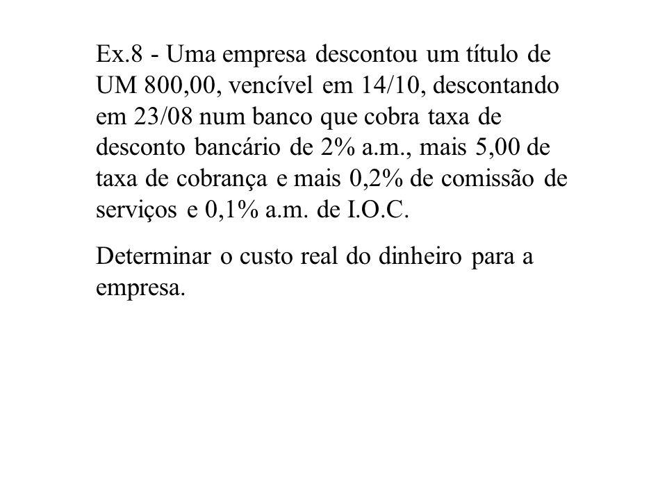 Ex.8 - Uma empresa descontou um título de UM 800,00, vencível em 14/10, descontando em 23/08 num banco que cobra taxa de desconto bancário de 2% a.m., mais 5,00 de taxa de cobrança e mais 0,2% de comissão de serviços e 0,1% a.m. de I.O.C.