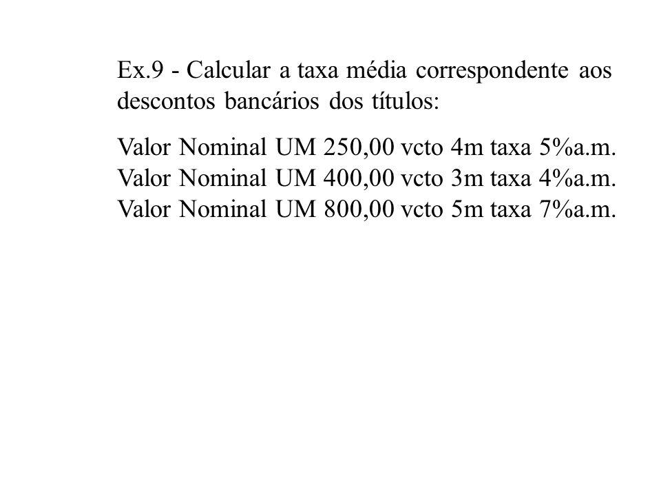 Ex.9 - Calcular a taxa média correspondente aos descontos bancários dos títulos: