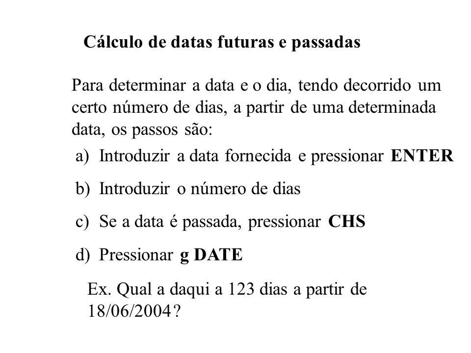 Cálculo de datas futuras e passadas