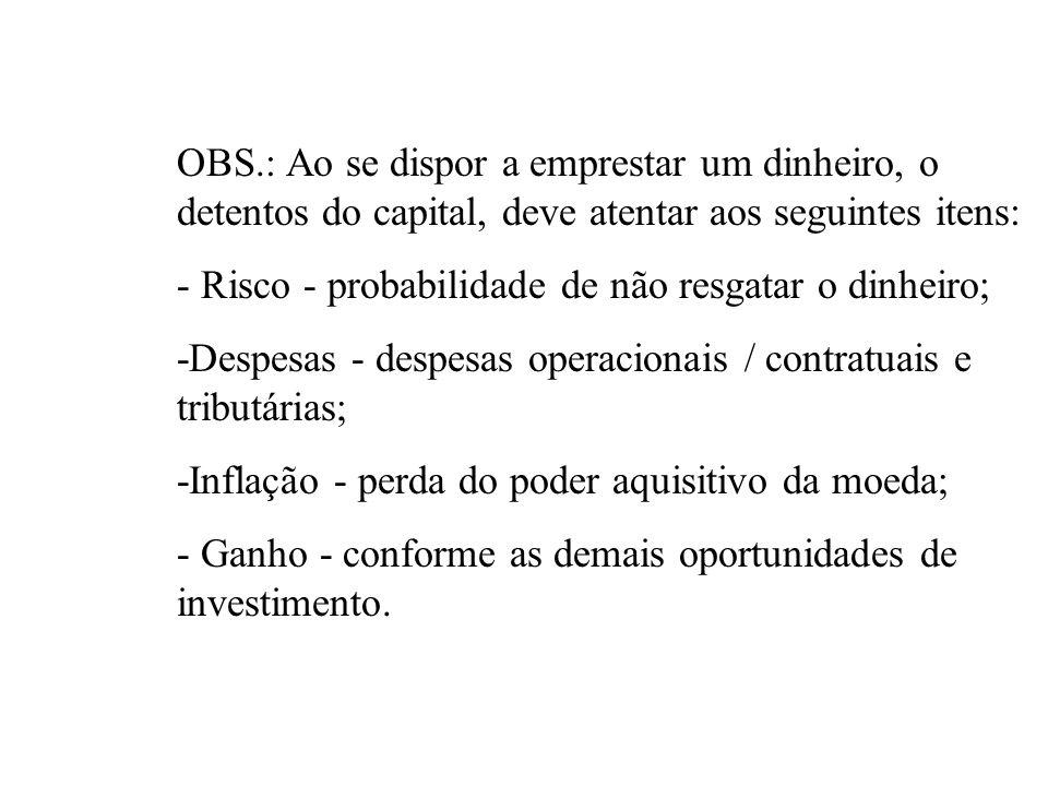 OBS.: Ao se dispor a emprestar um dinheiro, o detentos do capital, deve atentar aos seguintes itens: