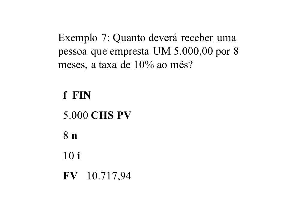 Exemplo 7: Quanto deverá receber uma pessoa que empresta UM 5