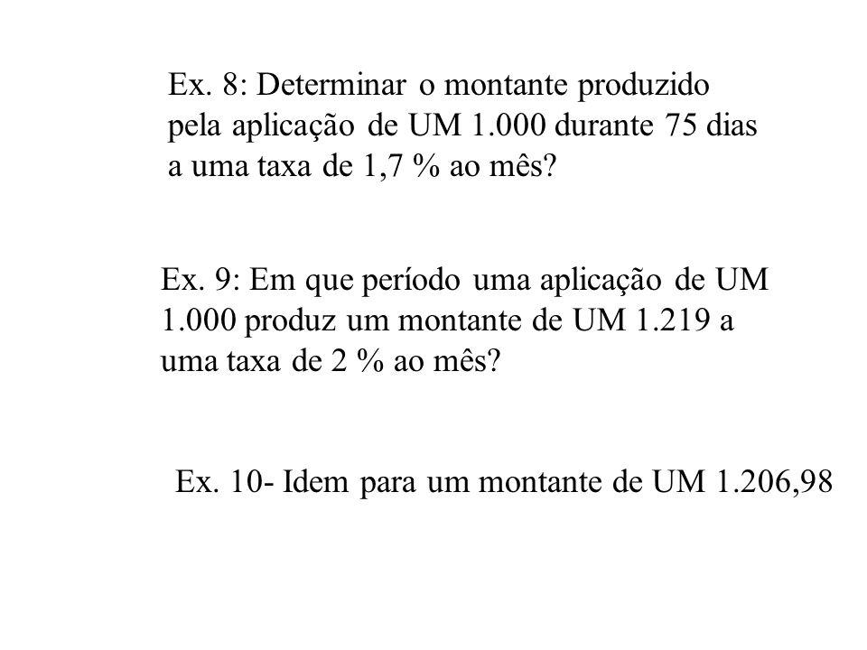 Ex. 8: Determinar o montante produzido pela aplicação de UM 1