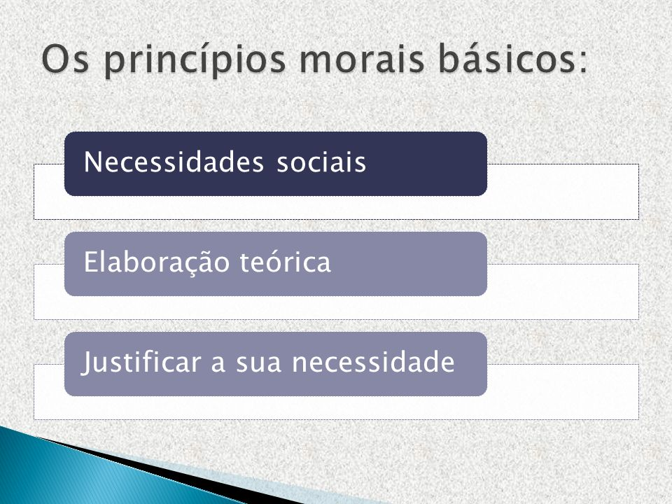 Os princípios morais básicos: