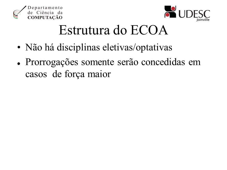 Estrutura do ECOA Não há disciplinas eletivas/optativas