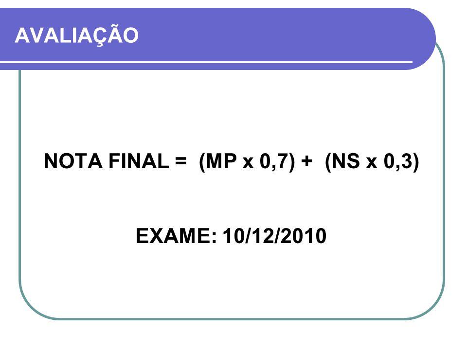 NOTA FINAL = (MP x 0,7) + (NS x 0,3)