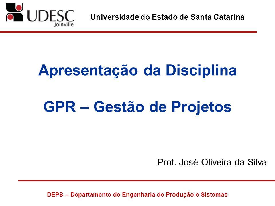 Apresentação da Disciplina GPR – Gestão de Projetos