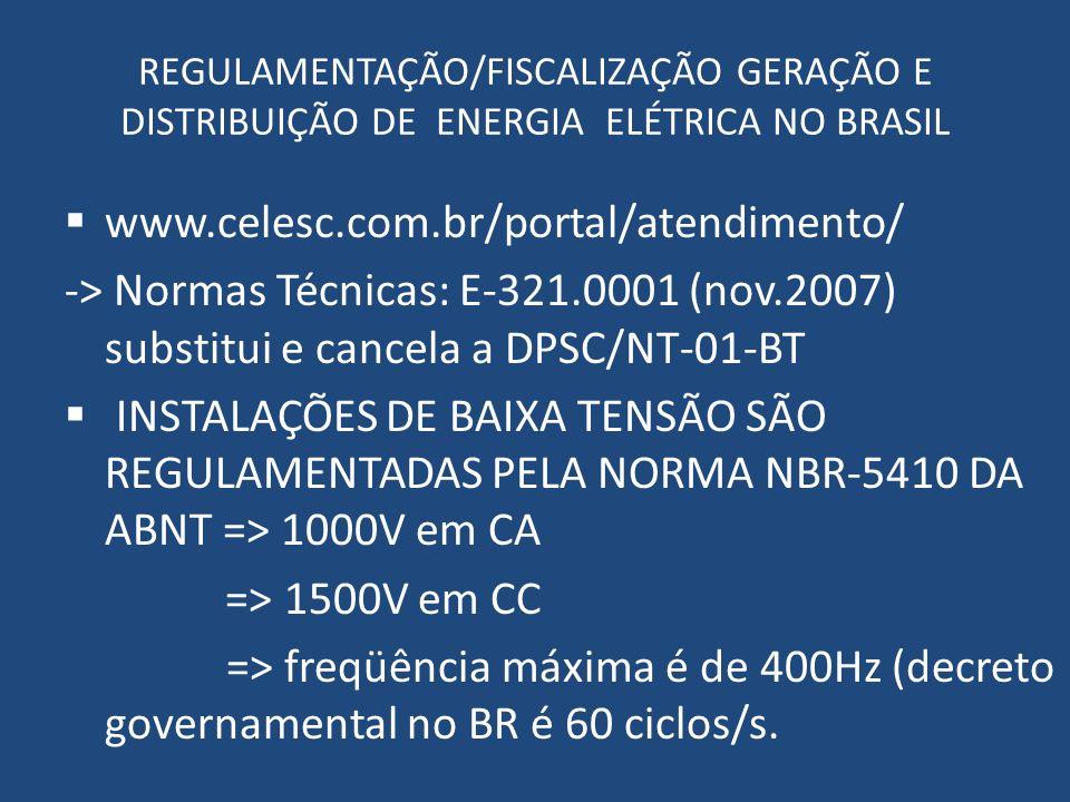 REGULAMENTAÇÃO/FISCALIZAÇÃO GERAÇÃO E DISTRIBUIÇÃO DE ENERGIA ELÉTRICA NO BRASIL