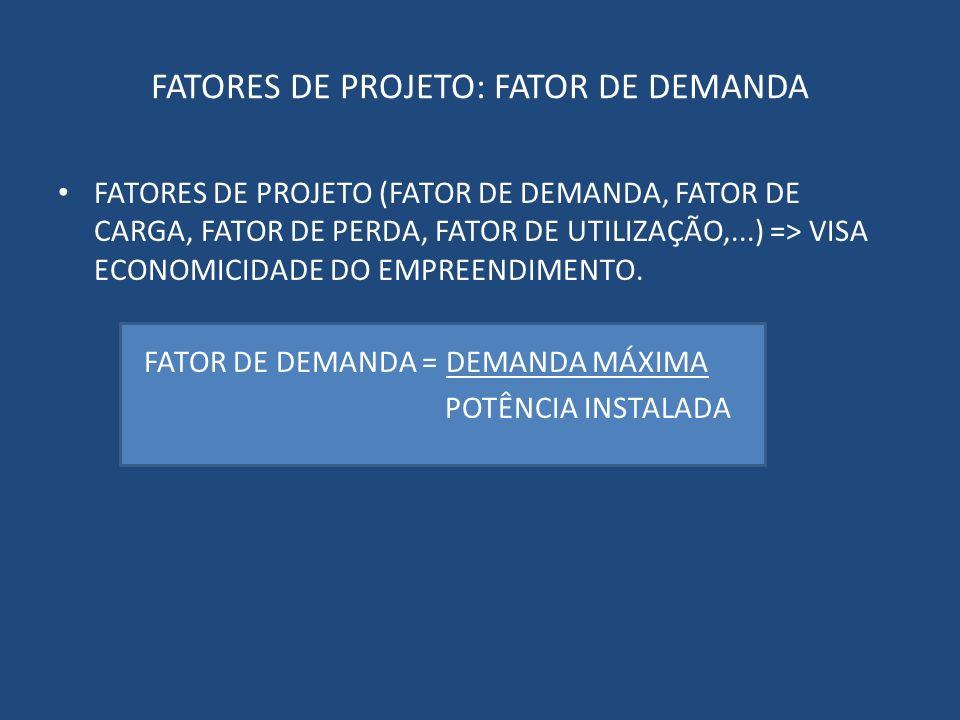 FATORES DE PROJETO: FATOR DE DEMANDA