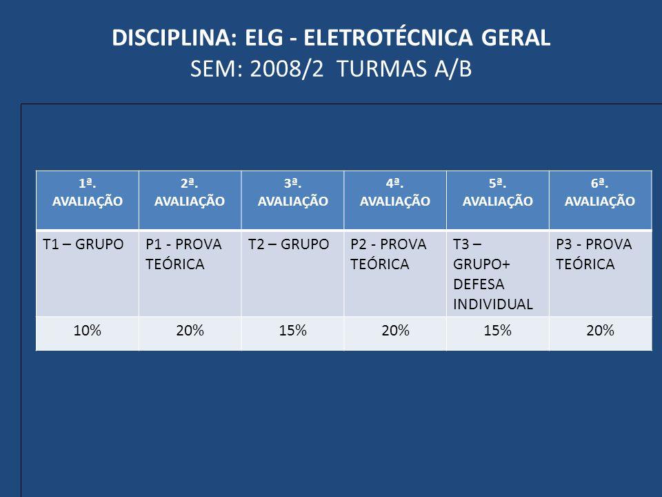 DISCIPLINA: ELG - ELETROTÉCNICA GERAL SEM: 2008/2 TURMAS A/B