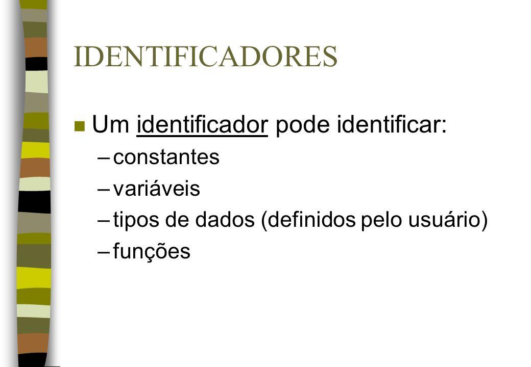 IDENTIFICADORES Um identificador pode identificar: constantes