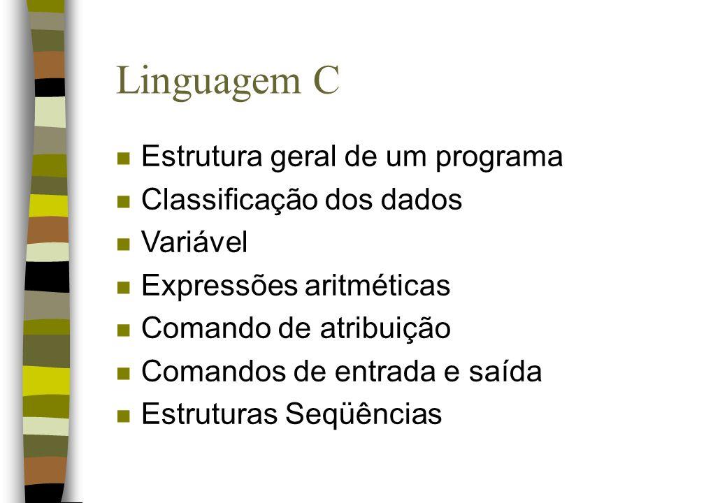 Linguagem C Estrutura geral de um programa Classificação dos dados